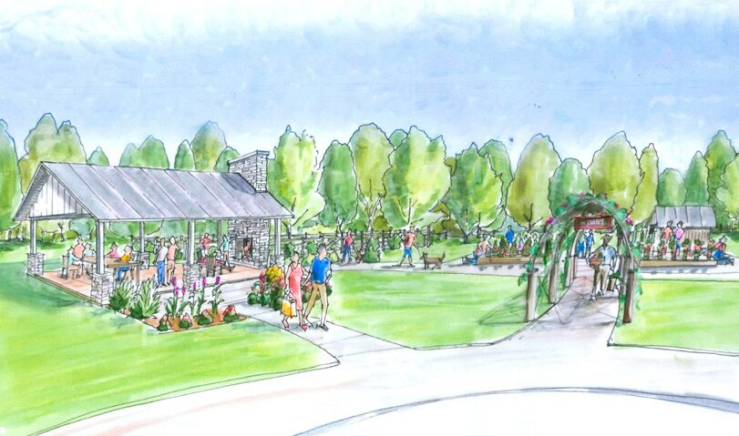 Community pavilion, pup park and corner patch gardens. RENDERING COURTESY OF CORNERSTONE HOMES